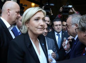 Marine Le Pen, French National Front (FN) political party leader and candidate for French 2017 presidential election, rejects a headscarf for her meeting Lebanon's Grand Mufti Sheikh Abed el-Lateef Daryan in Beirut, Lebanon February 21, 2017. REUTERS/Aziz Taher