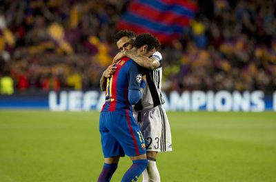 Juventus's Dani Alves (R) hugs Barcelona's Neymar after FC Barcelona is eliminated from the Champion's league during the Champion's League, round of 8 second leg football match, between Barcelona and Juventus at the Camp Nou stadium in Barcelona. Spain, Apr. 19, 2017. Barcelona scored 0-0 (Xinhua/Lino De Vallier) (Photo by Xinhua/Sipa USA)