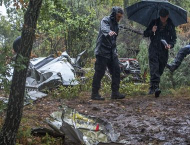 epa05528676 Police investigators investigate at the place of plane crash near the village Kozle, 10 km south of the Skopje's airport, The Former Yugoslav Republic of Macedonia on 07 September 2016. The small airplane of the type 'Piper' was a property of an Italian flying club 'Treviso' and was rented for a private flight to Pristina, but crashed while trying to land on the 'Alexander the Great' airport near Skopje where it was supposed to refuel. The six passengers (four Italian and two Kosovo national) of which two were crew members are all reported dead.  EPA/GEORGI LICOVSKI