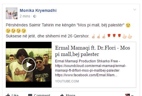 """Monika Kryemadhi replikon """"dhëmbë për dhëmbë"""" me Saimir Tahirin: Mos pi mall, bëj palestër Monika Kryemadhi replikon/ Fushata elektoralepo prodhon reagime të ndryshme nga forcat parlamentare që i kanë shpallur 'luftë' njëra-tjetrës, të paktën verbalisht. Zëvendëskryetarja e LSI-së Monika Kryemadhi i është përgjigjur deklaratës së ish-ministrit të Brendshëm Saimir Tahiri, i cili i dha një mesazh kreut të Kuvendit Ilir Meta, duke e akuzuar se ka hedhur baltë me të por se pas zgjedhjeve do bëhet për masazh koke. Kryemadhi i ka dhënë një këshillë Tahirit. """"Përshëndes Saimir Tahirin me këngën """"Mos pi mall, bëj palestër"""" Suksese në jetë, dhe shihemi më 26 Qershor"""", shkruan Kryemadhi. Burimi: BalkanwebMonika Kryemadhi replikon """"dhëmbë për dhëmbë"""" me Saimir Tahirin: Mos pi mall, bëj palestër Monika Kryemadhi replikon/ Fushata elektoralepo prodhon reagime të ndryshme nga forcat parlamentare që i kanë shpallur 'luftë' njëra-tjetrës, të paktën verbalisht. Zëvendëskryetarja e LSI-së Monika Kryemadhi i është përgjigjur deklaratës së ish-ministrit të Brendshëm Saimir Tahiri, i cili i dha një mesazh kreut të Kuvendit Ilir Meta, duke e akuzuar se ka hedhur baltë me të por se pas zgjedhjeve do bëhet për masazh koke. Kryemadhi i ka dhënë një këshillë Tahirit. """"Përshëndes Saimir Tahirin me këngën """"Mos pi mall, bëj palestër"""" Suksese në jetë, dhe shihemi më 26 Qershor"""", shkruan Kryemadhi. Burimi: BalkanwebMonika Kryemadhi replikon """"dhëmbë për dhëmbë"""" me Saimir Tahirin: Mos pi mall, bëj palestër Monika Kryemadhi replikon/ Fushata elektoralepo prodhon reagime të ndryshme nga forcat parlamentare që i kanë shpallur 'luftë' njëra-tjetrës, të paktën verbalisht. Zëvendëskryetarja e LSI-së Monika Kryemadhi i është përgjigjur deklaratës së ish-ministrit të Brendshëm Saimir Tahiri, i cili i dha një mesazh kreut të Kuvendit Ilir Meta, duke e akuzuar se ka hedhur baltë me të por se pas zgjedhjeve do bëhet për masazh koke. Kryemadhi i ka dhënë një këshillë Tahirit. """"Përshëndes Saimir Tahirin me këng"""