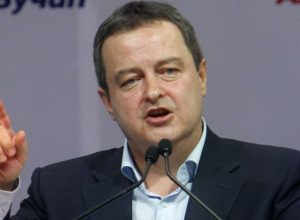 epa05864392 The leader of the Socialist Party of Serbia Ivica Dacic (coalition partner of Serbian Progressive Party) speaks during a campaign rally of Serbian Progressive Party candidate for the Serbian presidency, Aleksandar Vucic in Nis, southern Serbia, 22 March 2017. Aleksandar Vucic held a pre-election rally in front of about 8,000 supporters in Nis. Presidential election is scheduled to take place on 02 April 2017.  EPA/Djordje Savic