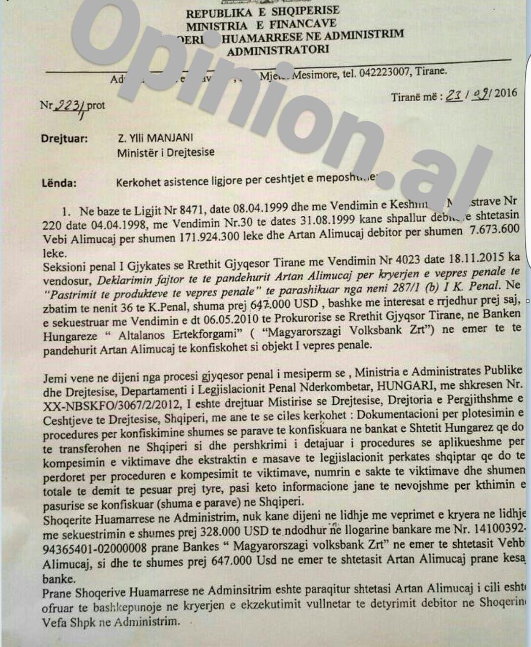 Banka hungareze ngrin llogaritë 1 milionë USD të bosit të Vefa-s