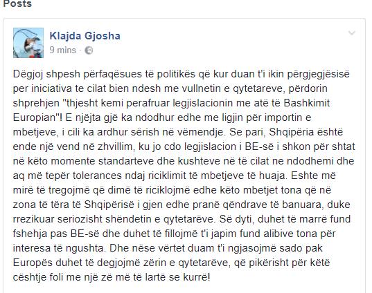 Ligji për importin e mbetjeve, ministrja e LSI-së i kthehet Ramës: Mos u fshih pas BE-së!