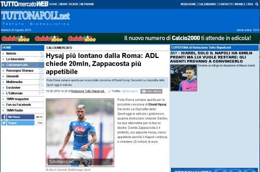 Hysaj La Gazzetta