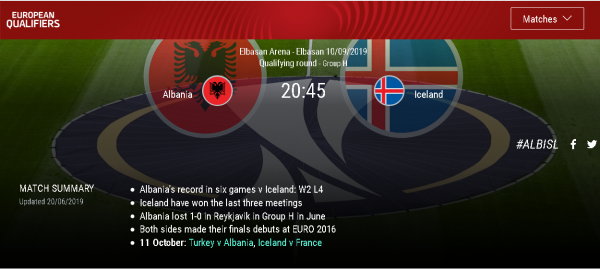 Uefa Shqiperi Islande