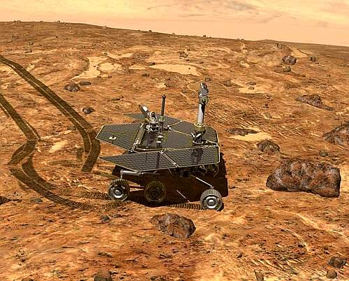 Undated Nasa Illustration Of One Of Its Two Six Wheeled Rovers Operating On The Surface Of Mars