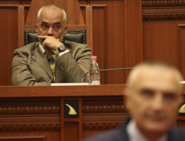 Albania's Prime Minister Edi Rama Listens To Ilir Meta, Newly Elected President Of Albania Holding Speeach In The Parliament In Tirana