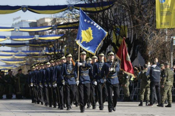 Members Of Kosovo Security Forces March During A Celebration Marking The Eighth Anniversary Of Kosovo's Declaration Of Independence From Serbia, In Pristina