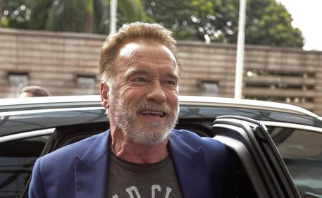 Schwarzenegger Arrives In Sao Paulo To Present His Arnold Sports Festival South America