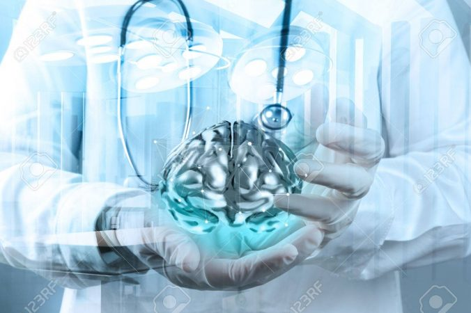 Double Exposure Of Doctor Neurologist Hand Show Metal Brain With