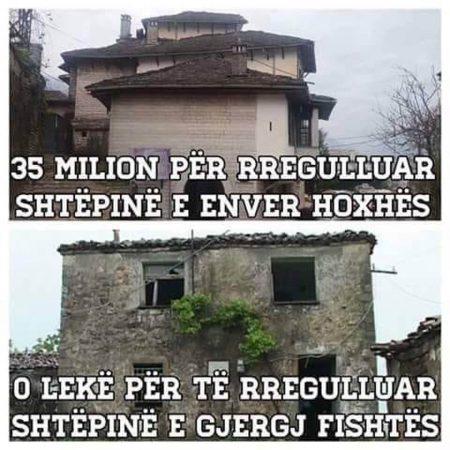 Demaliaj  35 mln lekë për shtëpinë e E Hoxhës  asnjë për të Fishtës